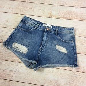 Zara Distressed High Waist Denim Jean Shorts